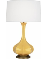 Robert Abbey Pike Sunset Ceramic and Brass Table Lamp