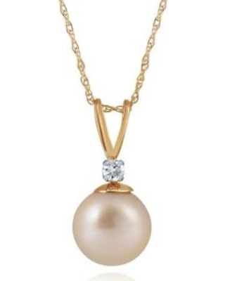 Belk & Co. Yellow Freshwater Pearl & Diamond Necklace in 10K Yellow Gold