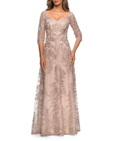 Women's La Femme Floral Embroidered Mesh A-Line Gown, Size 12 - Beige