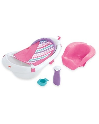 Fisher-Price® 4-in-1 Sling n Seat Bath Tub in Pink/White