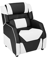AmazonBasics Kids/Youth Gaming Recliner with Headrest and Back Pillow, 5+ Age Group, Black and White