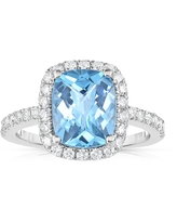 Noray Designs 14k White Gold Swiss Blue Topaz and 1/2ct TDW Diamond Ring (G-H, SI1-SI2) (6)
