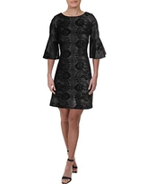 Gabby Skye Women's 3/4 Bell Sleeve Round Neck Lace Fit & Flare Dress, Black/Ivory/Green, 6