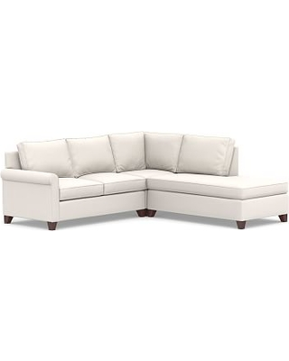 Cameron Roll Arm Upholstered Left 3-Piece Bumper Sectional, Polyester Wrapped Cushions, Sunbrella(R) Performance Chenille Salt