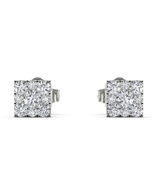 De Couer IGI Certified Sterling Silver 1/5ct TDW Diamond Square-Framed Cluster Earring - White (Sterling Silver - Women's - Round - Diamond - White)