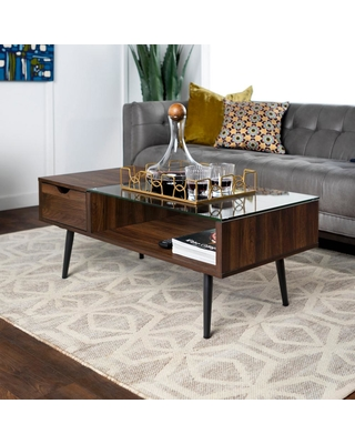 Walker Edison Furniture Company Mid 42 in. Dark Walnut Large Rectangle Glass Coffee Table with Drawers