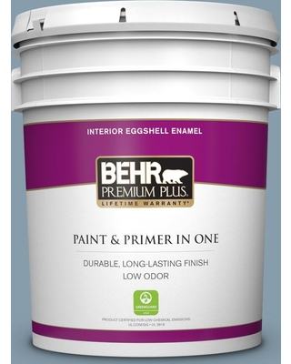 BEHR Premium Plus 5 gal. #icc-65 Relaxing Blue Eggshell Enamel Low Odor Interior Paint and Primer in One