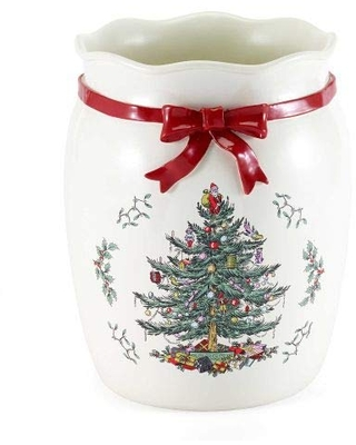 Avanti Linens Spode-Tree Red Wastebasket, Natural
