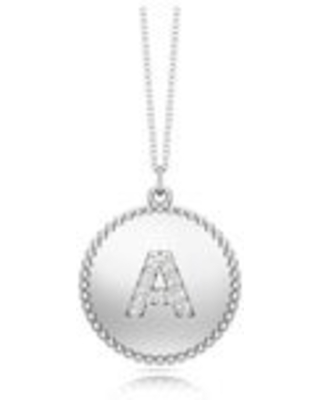 """Noray Designs 14K Gold Diamond (0.07Ct, G-H Color, SI2-I1 Clarity) A-Z Alphabet Initial Pendant, 18"""" Gold Chain (A - White)"""