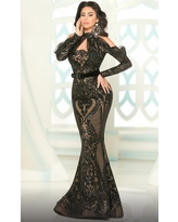 MNM COUTURE - 2514 Embellished High Neck Mermaid Gown
