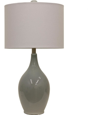 Decor Therapy Anabelle Ceramic 27 in. French Blue Table Lamp with Linen Shade