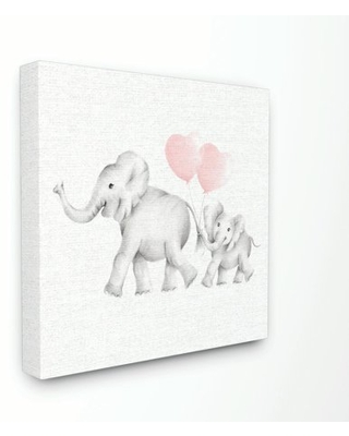 The Kids Room by Stupell Elephant Family Pink Balloon Linen Look Canvas Wall Art by Studio Q