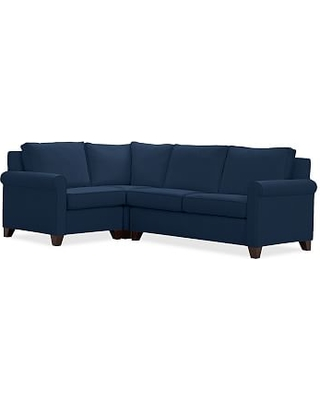 Cameron Roll Arm Upholstered Right Arm 3-Piece Corner Sectional, Polyester Wrapped Cushions, Performance Everydayvelvet(TM) Navy