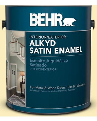 BEHR 1 gal. #P290-1 Soft Buttercup Urethane Alkyd Satin Enamel Interior/Exterior Paint