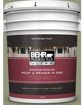 BEHR Premium Plus Ultra 5 gal. #S380-5 Milkweed Pod Flat Exterior Paint and Primer in One
