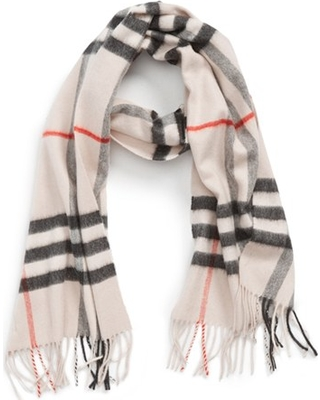 Women's Burberry Giant Icon Check Cashmere Scarf, Size One Size - Grey