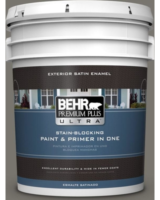 BEHR Premium Plus Ultra 5 gal. #PPU24-06 Slippery Shale Satin Enamel Exterior Paint and Primer in One