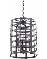 "Townsend 13 3/4""W Vintage Forged Iron Cage Lantern Pendant"