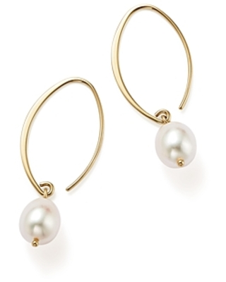 Simple Sweep Earrings with Cultured Freshwater Pearl Drops in 14K Yellow Gold, 8mm
