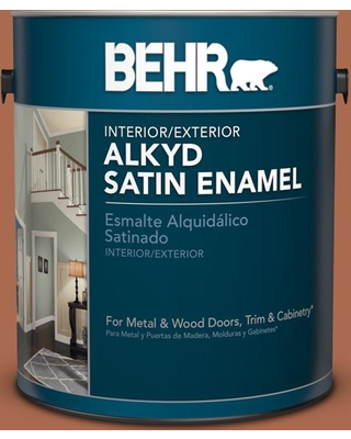 BEHR 1 gal. #BIC-45 Airbrushed Copper Urethane Alkyd Satin Enamel Interior/Exterior Paint