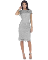 May Queen - Short Sleeve Illusion Lace Sheath Formal Dress