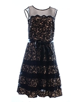 Betsy & Adam Women's Lace Fit-and-Flare Party Dress with Belt, Black/Nude, 6