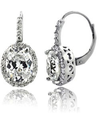 Icz Stonez Cubic Zirconia Oval Halo Leverback Drop Earrings, 3 Colors (White)