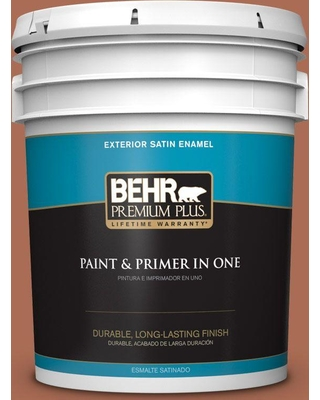 BEHR Premium Plus 5 gal. #BIC-45 Airbrushed Copper Satin Enamel Exterior Paint and Primer in One