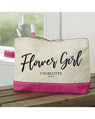 Classic Elegance Personalized Bridal Party Pink Makeup Bag