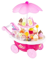 Hey! Play! Kids Ice Cream Cart-Mini Pretend Play Food Stand with Candy, Lollipops, Popcorn, Snacks, Play Money-Sweets Trolley with Light & Music (80-TK028462)