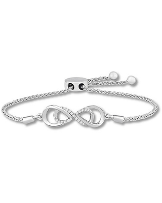 Jared The Galleria Of Jewelry Diamond Infinity Bolo Bracelet 1/10 ct tw Round Sterling Silver