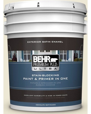 BEHR ULTRA 5 gal. #M330-1 Chanoyu Satin Enamel Exterior Paint and Primer in One