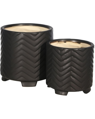"Ceramic 8/6.5"" Chevron Footed Planter, Black (Set of 2) (Planter Pot - Ceramic - Black - Assembled - Modern & Contemporary - Yes - Round)"