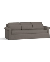 "York Roll Arm Slipcovered Deep Seat Grand Sofa 98"" with Bench Cushion, Down Blend Wrapped Cushions, Performance Heathered Tweed Graphite"
