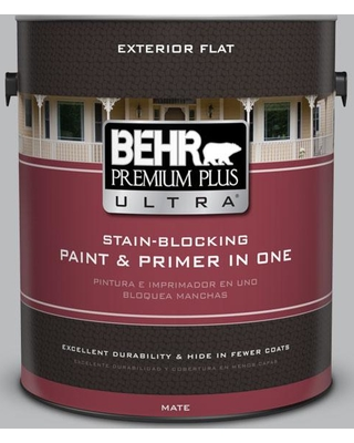 BEHR ULTRA 1 gal. #PPU18-05 French Silver Flat Exterior Paint and Primer in One
