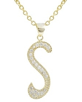 Luxiro Gold Finish Sterling Silver Cubic Zirconia Initial Pendant Necklace (S)