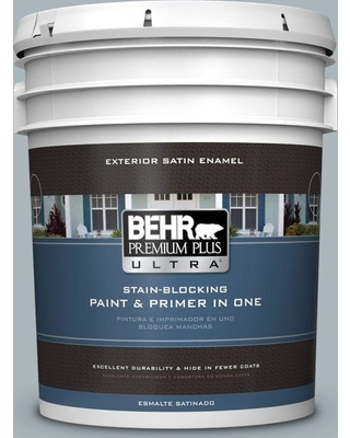 BEHR ULTRA 5 gal. #N490-3 Shaved Ice Satin Enamel Exterior Paint and Primer in One
