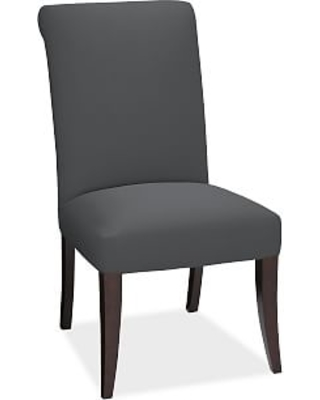PB Comfort Roll Upholstered Dining Side Chair, Premium Performance Basketweave Charcoal