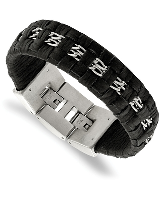 Chisel Stainless Steel Polished with Black Woven Leather 7 Inch with 0.5 Inch Extension Bracelet