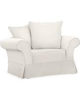 Charleston Slipcovered Chair-and-a-Half, Polyester Wrapped Cushions, Denim Warm White