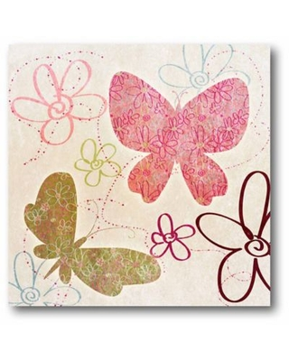 Courtside Market Fly Away II 12-Inch Square Canvas Wall Art in Pink
