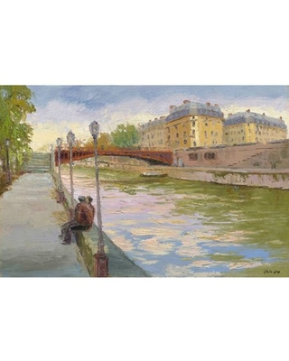 """""""Evening on the Canal"""" Painting Print on Wrapped Canvas"""