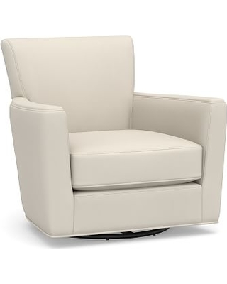 Irving Square Arm Upholstered Swivel Armchair Without Nailheads, Polyester  Wrapped Cushions, Twill Cream