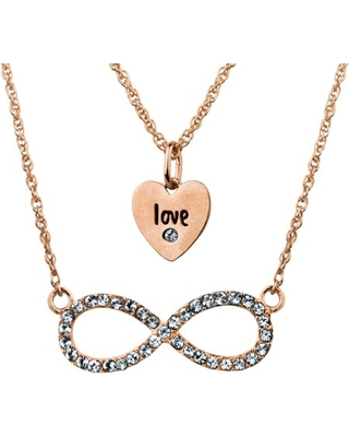 Swarovski Crystal Fine Silver Plated/14kt Rose Gold Flash Love/Infinity Duo Necklace Set