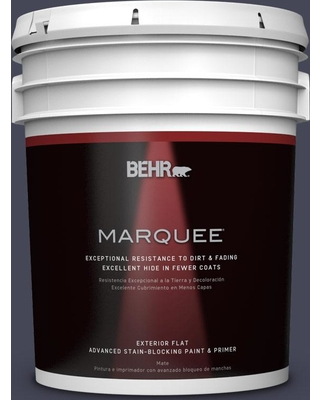 BEHR MARQUEE 5 gal. #PPU15-19 Black Sapphire Flat Exterior Paint and Primer in One