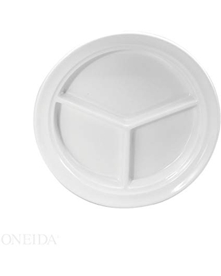 """Buffalo Rolled Edge Porcelain Compartment Plates 9.5"""" (Set of 12) by Oneida"""
