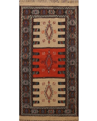 "Tribal Sumak Kilim Persian Wool Area Rug Hand-Woven Traditional Carpet - 3'4"" x 6'0"" (3'4"" x 6'0"" - Multi-Colored)"