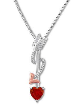 Lab-Created Ruby Arrow Necklace Sterling Silver/10K Gold