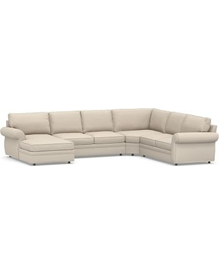 Pearce Roll Arm Upholstered Right Arm 4-Piece Wedge Sectional, Down Blend Wrapped Cushions, Textured Twill Khaki