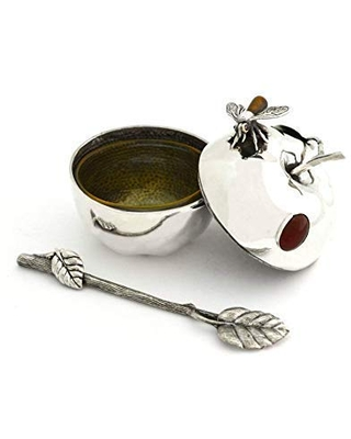 Sterling silver Small Heavy Honey Dish with Carnelian Stone & Tiger eye stone bee Apple shape